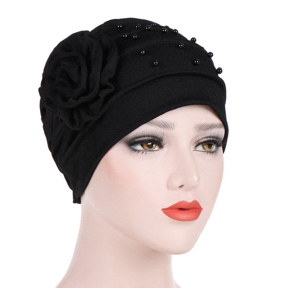 Cotton Beanie Girl Hats Flower Headdress Caps Lady Hair Women Fashion Bonnet Turban Muslim Hat Breathable Loss Hair Accessories