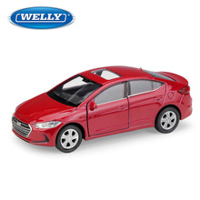 цена на WELLY 1:36 Hyundai Elantra Alloy car model die-casting model car simulation car decoration collection gift toy