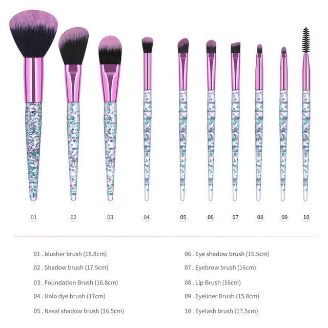 10PCS Professional makeup brush Diamond Crystal brush set Acrylic handle Foundation blush brush powder mixed eye shadow tool kit 5