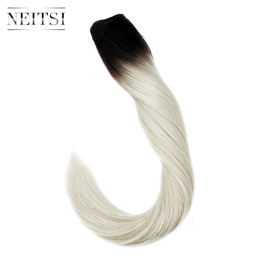 Neitsi Machine Made Remy Human Hair Extensions Straight Human Hair Weave Weft Bundles 100g/pc Balayage Black With Blonde Color