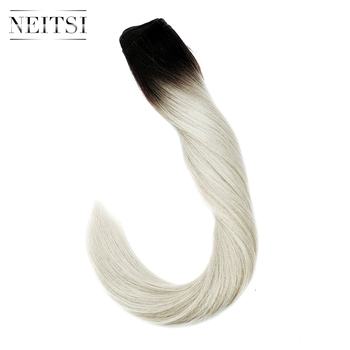 Neitsi Machine Made Remy Human Hair Extensions Straight Human Hair Weave Weft Bundles 100g/pc Balayage Black With Blonde Color full shine balayage color 3 8 613 hair weft 100g hair weave sew in ribbon hair 100
