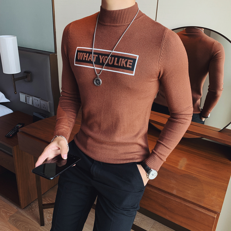 New Fashion Printed Casual O-Neck Slim 2019 Sweaters Men Knitted Mens Sweaters Pullovers Men Brand Clothing Maglione Natale