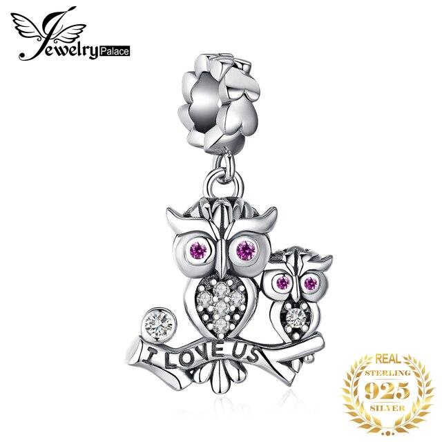 JewelryPalace البومة الأسرة 925 فضة الخرز Charms الفضة 925 الأصلي لسوار الفضة 925 الأصلي صنع المجوهرات