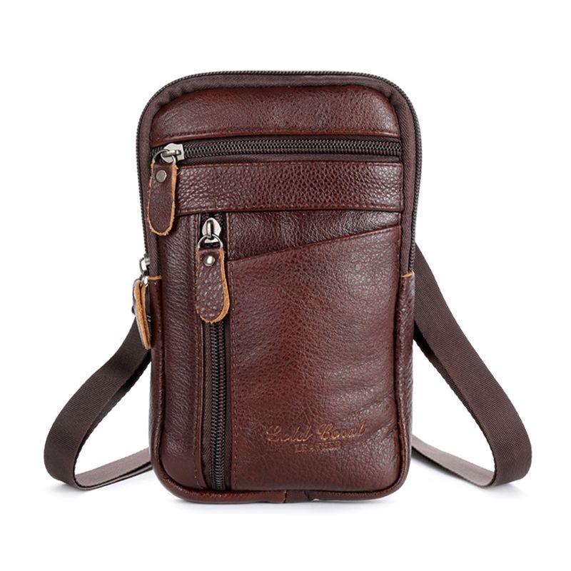 Men's Genuine Leather Fashion Phone Pouch Belt Bag Shoulder Crossbody Waist Pack