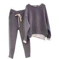 Женский свободный свитер из двух частей, спортивный костюм, новый дизайн, модный стильный комплект из двух предметов, Толстовка и штаны, ком...