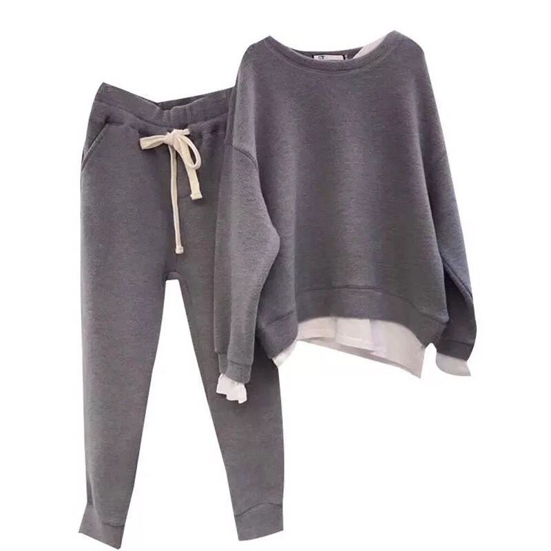 Women Two Paper Split Joint Loose Sweater Tracksuit New Design Fashion Two-piece Style Outfit Sweatshirt Pants Sets