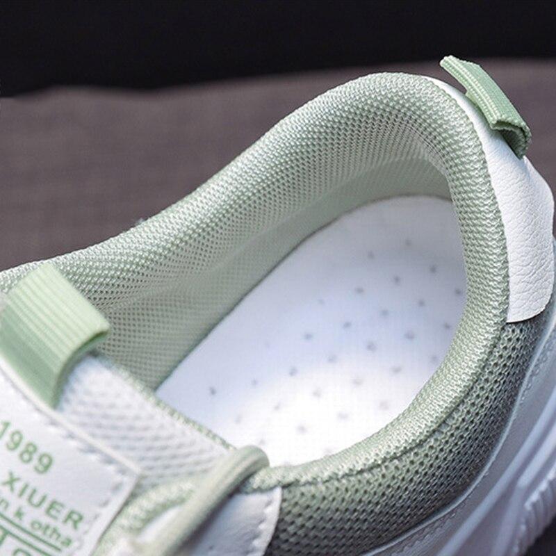 SWQZVT Summer Autumn Sneakers Women Breathable Flat Lace-up Women Vulcanize Shoes White Walking Leather Female Casual Shoes 2020 (17)