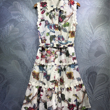 DLINGHAN Fashion Print Tank Dress Sexy ollow Out Embroidery Turn-down Collar Vac