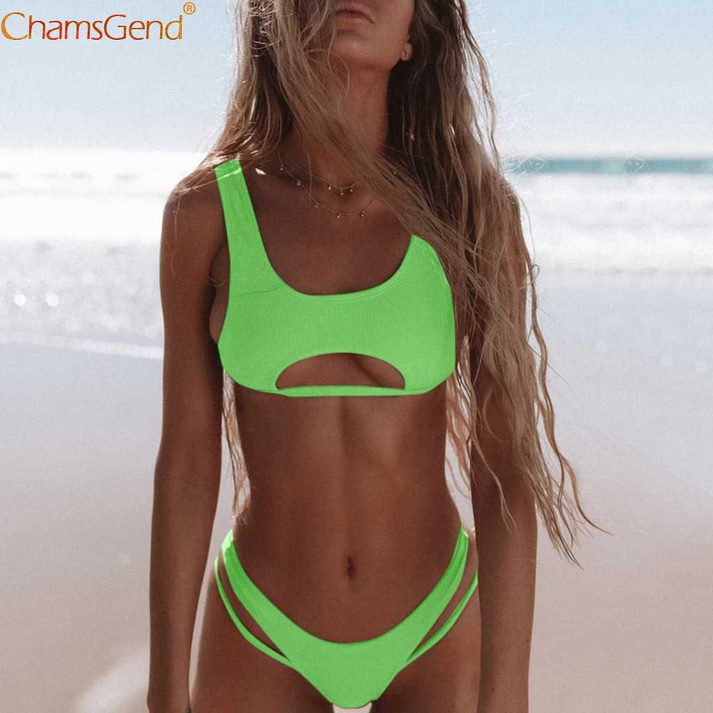Сексуальный зеленый бандажный бикини новый стиль пуш ап Мягкий Купальник для