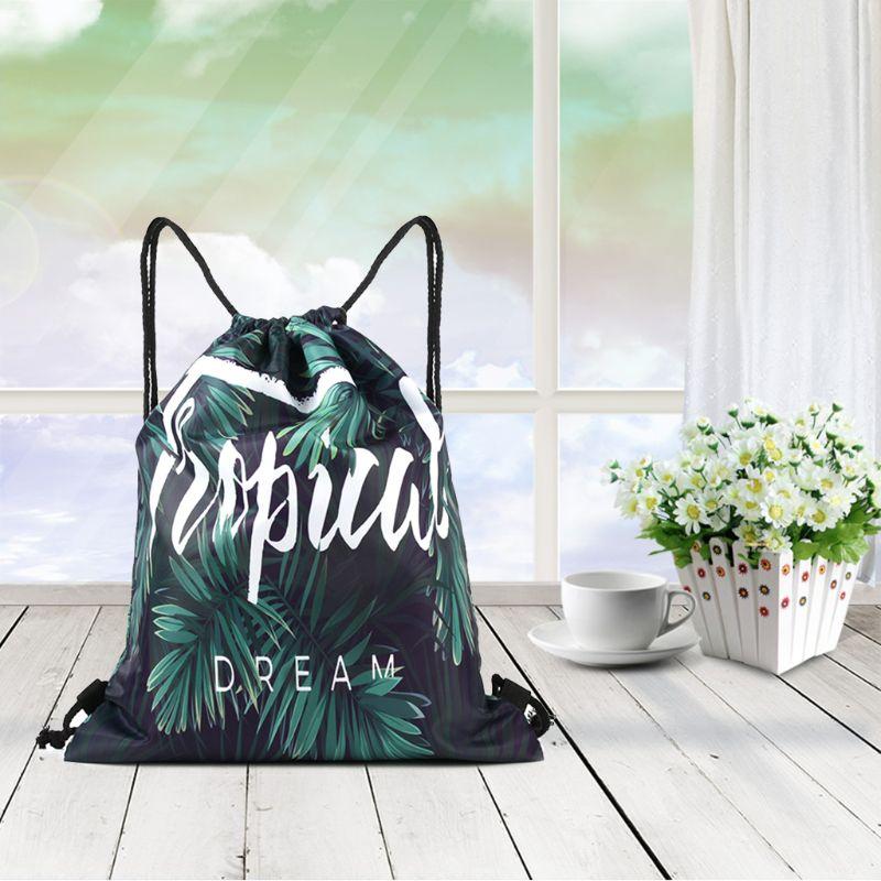 Tropical Leaf Printed Drawstring Backpack Portable Shoulder Gym Bag For Students 517D