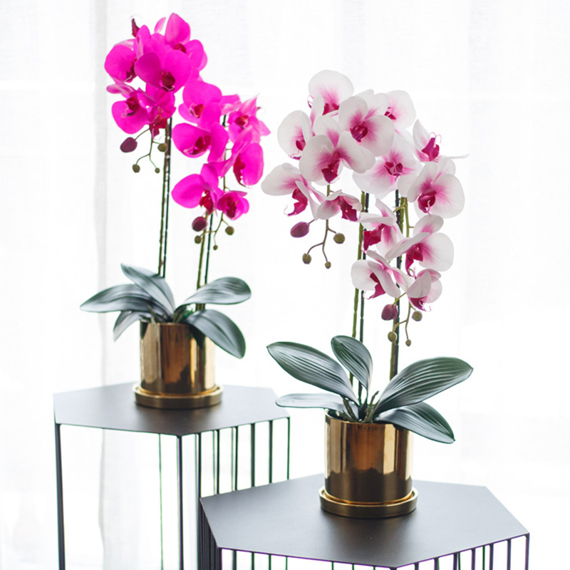 8 Heads DIY Artificial Fake Silk Flower Phalaenopsis Butterfly Orchid Home Decor