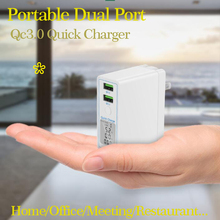 Dual Port QC3.0 Quick Charge USB Charger for mobile phone ipad iphone x 7 6 Xiaomi Huawei Samsung s10 Fast Charging Wall Adapter dual usb quick charge qc3 0 car charger for iphone xiaomi pocophone f1 huawei samsung mobile phone fast charging adapter in cell