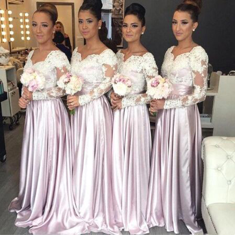 Robe Demoiselle D'honneur Lace Appliques Tank Sleeve A-line   Bridesmaid     Dresses   Simple Long Sleeve Sweetheart Neck Party Gown