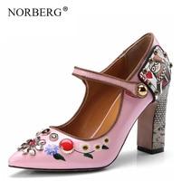 NORBERG pumps Women printed flowers high heels Spring summer rhinestone shoe runway design Flower bridal crystal wedding shoes