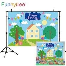 Funnytree Frühling 1st Birthday Kid Hintergrund Baby Dusche Baum Ballon Blau Banner Schwein Haus Hintergrund Photozone Fotografie Vinyl