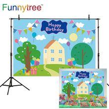 Funnytree Spring 1st Birthday Kid Background Baby Shower Tree Balloon Blue Banner Pig House sfondo photzone Photography Vinyl