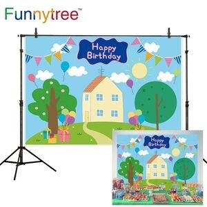 Image 1 - Funnytree الربيع الأزرق أول عيد ميلاد خلفية الطفل استحمام الطفل راية دعامة أرضية حظيرة الخنازير خلفية صور منطقة التصوير photophone