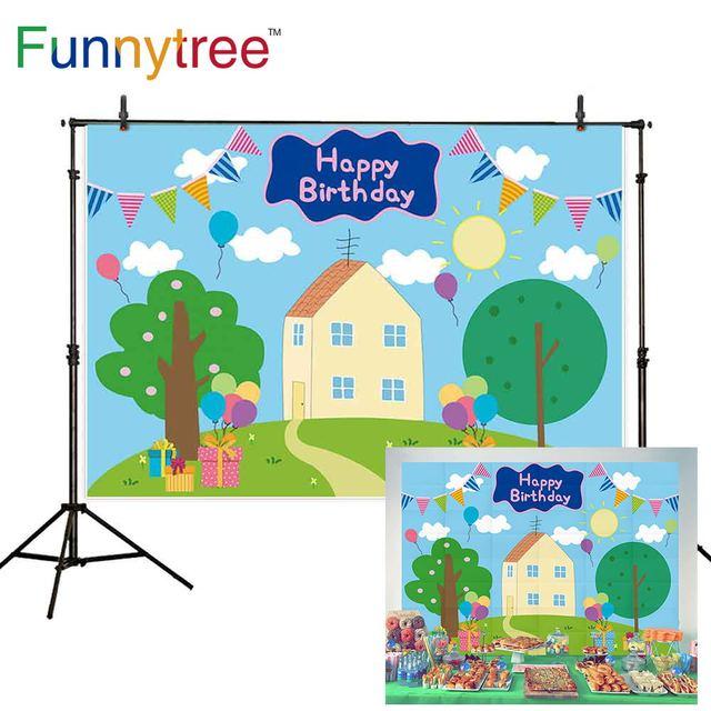 Funnytree الربيع الأزرق أول عيد ميلاد خلفية الطفل استحمام الطفل راية دعامة أرضية حظيرة الخنازير خلفية صور منطقة التصوير photophone