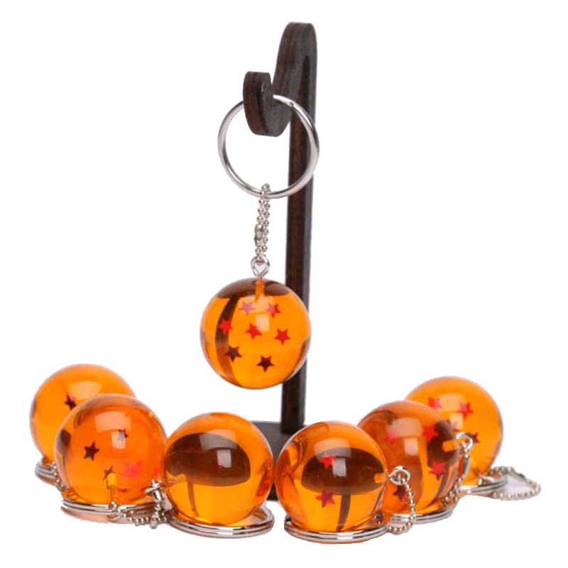 7pcs/set 2.5cm Anime Dragon Ball Z 7 Stars Crystal Balls Key Chain Pendants Dragonball Keychain Figure Toy Keyfob Keyring