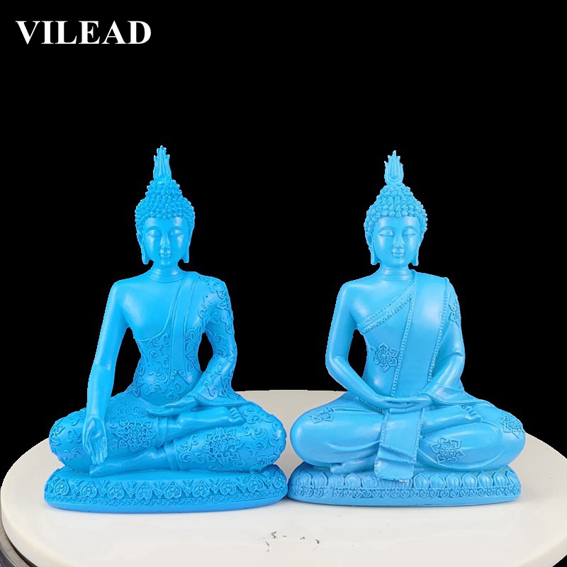 VILEAD Blue Resin Buddha Statue Thailand Buddhism Sculpture Hindu Buddha Figurines Miniatures Fengshui Vintage Home Decor Gifts