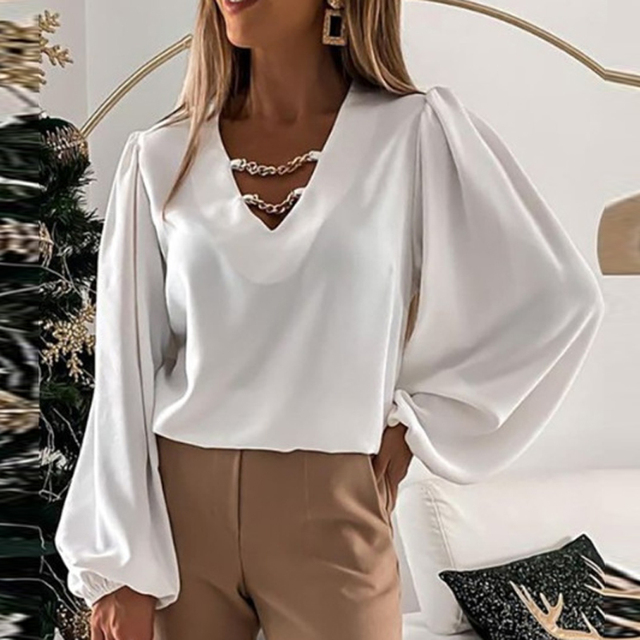 Elegant V Neck Metal Chain Lady Tops Fashion Solid Color Long Sleeve Woman Shirts Autumn Loose Casual Office Work Female Blouses 1