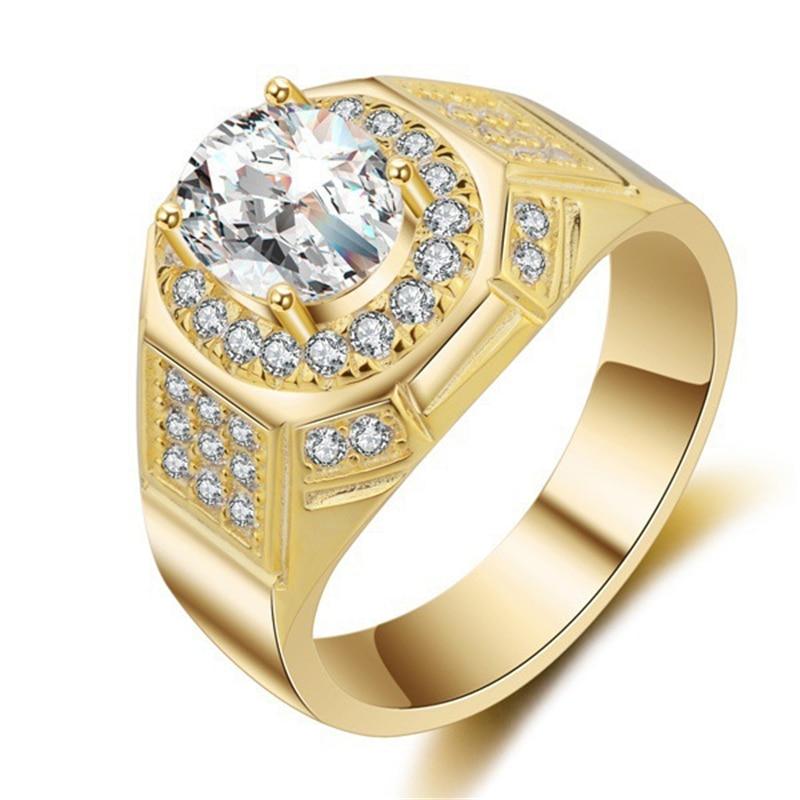 14K Yellow Gold AAA Simulated Diamond Men's Ring Anillos Engagement Bizuteria Gemstone Diamond Cirle Dainty Topaz Jewelry Rings