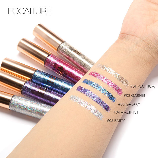FOCALLURE 5 Colors Glitter Eyeliner Eyeshadow For Easy to Wear Waterproof Liquid Eyeliner Makeup Glitter Eye Liner 4