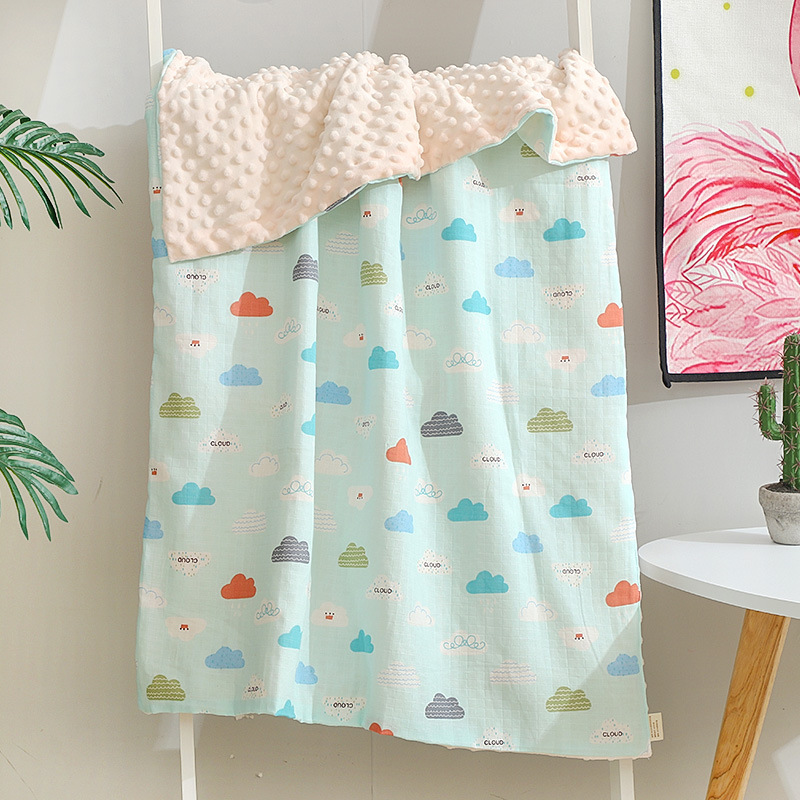 Muslin Cotton Face Coral Minky Dot  Kids Blanket Bubble Soft Thermal Toddler Child Winter Baby Blanket Baby Receiving  Swaddle