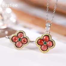 Bastiee Natural Red Garnet Clover 925 Sterling Silver Jewelry Sets For Women Rings Necklace Pendants Luxury Wedding Gift Girl