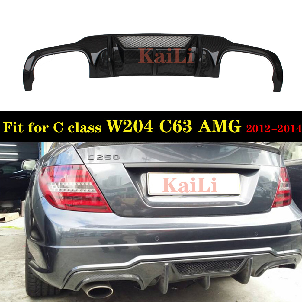 Real Carbon Fiber Rear Lip Spoiler Diffuser for <font><b>Mercedes</b></font> Benz W204 C63 <font><b>C300</b></font> Sport <font><b>2012</b></font> - 2014 image