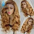 Мёд Золотой Цвет 13*6 Синтетические волосы на кружеве парики с детскими волосами объемная волна средний коэффициент индийские волосы Remy пари...