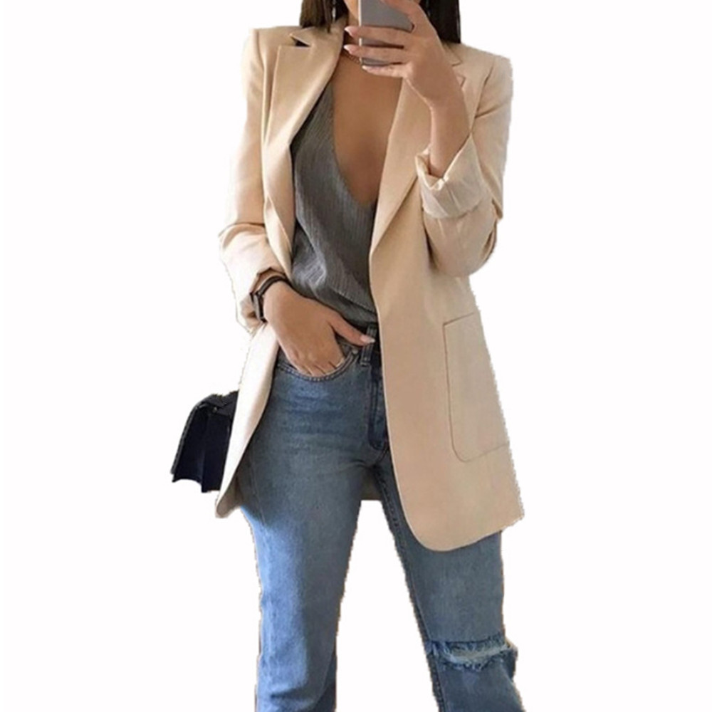 Fashion Slim Blazers Women Autumn New Suit Jacket Female Work Office Lady Suit Pocket Business Notched Blazer Coat