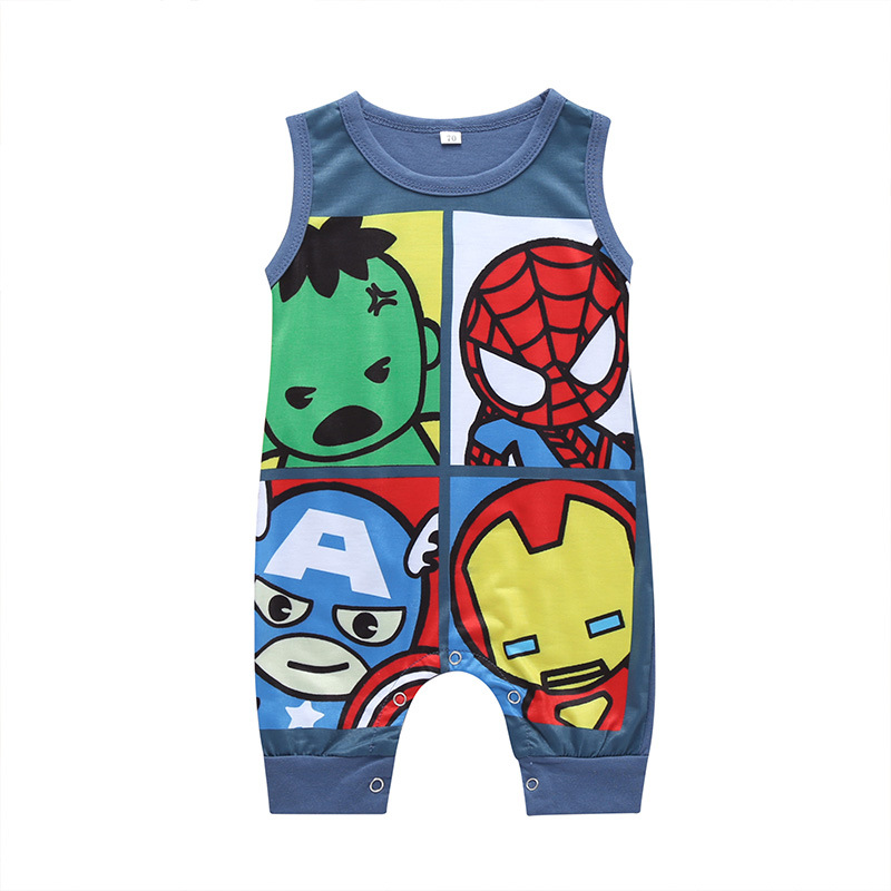 Newborn Infant Baby Romper For Baby Cartoon Sleeveless Jumpsuit Toddler Superhero Print Jumpsuit Cotton Outfits Clothes