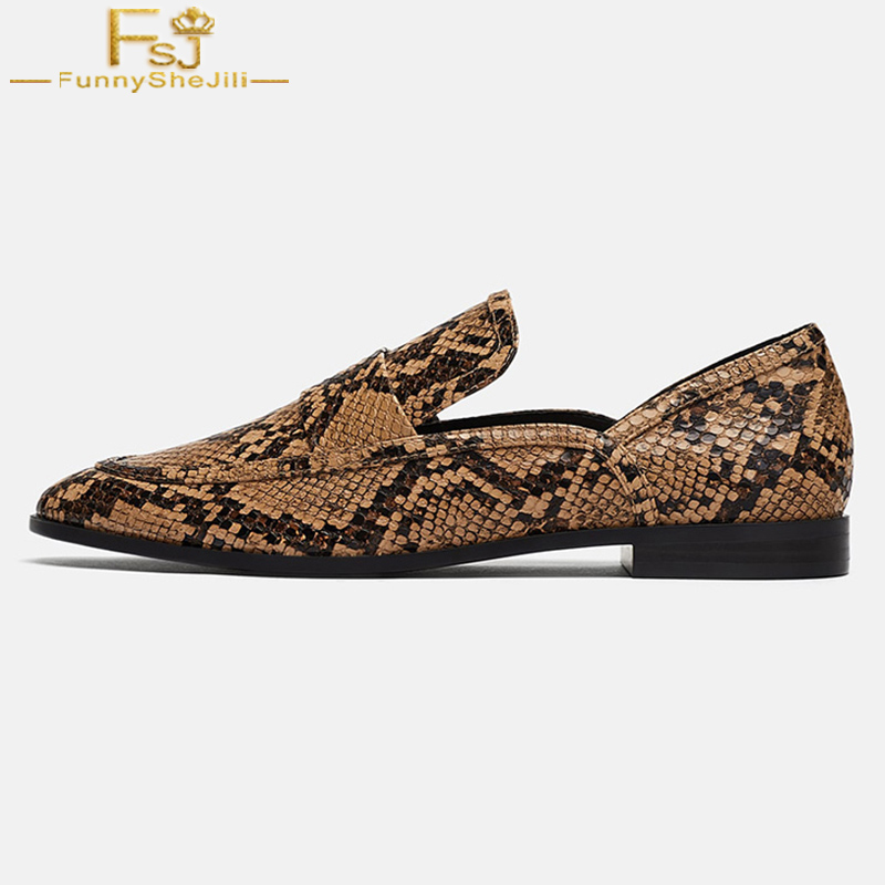 Python Print Loafers Brown Leather Flats Round Toe Slip On Autumn Leopard Animal Print Big Size 44 45 Customization Women
