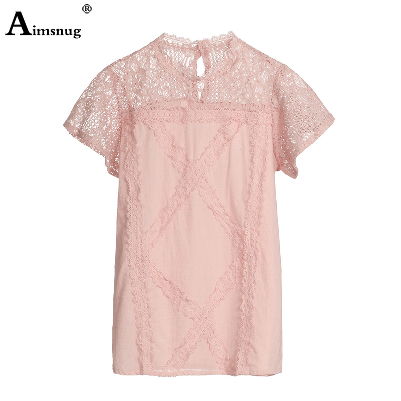 H2c99ddcd6819440b9cacf80d6d83ad47Q - Aimsnug Women White Elegant T-shirt Lace Patchwork Female O-neck Hollow Out Shirt Summer New Solid Casual Women's Tops