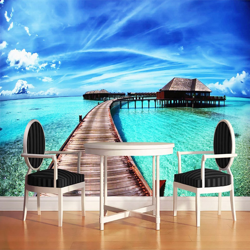 Sea View 3D Photo Wallpaper For Living Room Sofa Bedroom TV Background Wall Mural Waterproof Wallpapers Home Decor Wall Painting