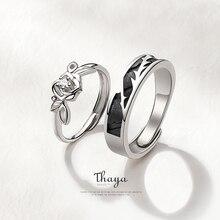 Thaya Design Originale 925 Sterling Silver di Cristallo Romantico Rosa Paio di Anelli Per Le Donne Anelli di Fidanzamento Regalo