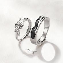 Thaya Original Design 925 Sterling Silber Kristall Romantische Rose Paar Ringe Für Engagement Geschenk Frauen Ringe