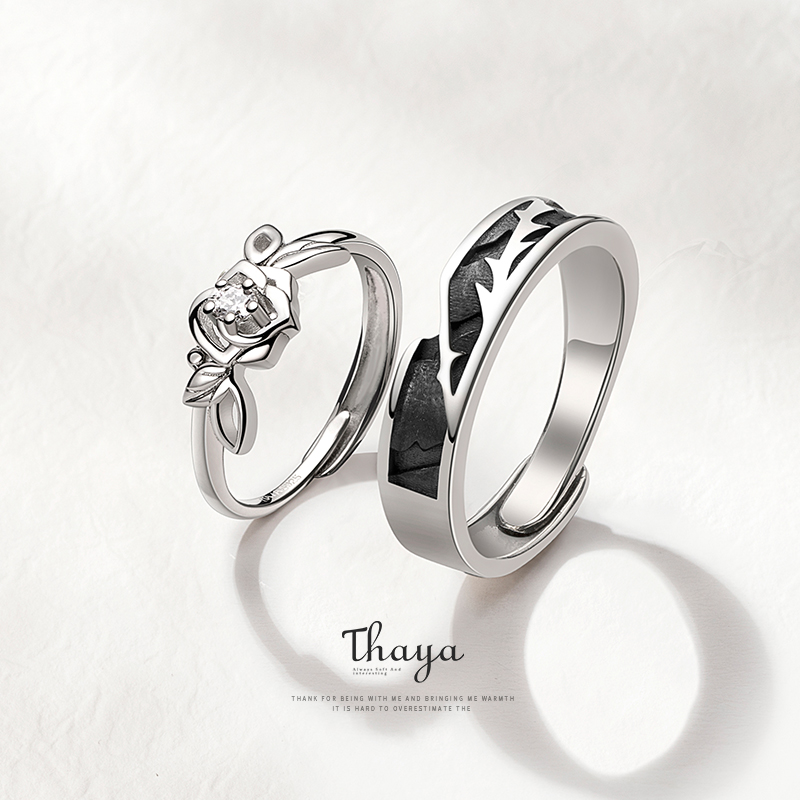 Thaya Original Design 925 Sterling Silver Crystal Romantic Rose Couple Rings For Engagement Gift Women Rings