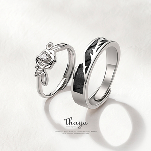Image 1 - Thaya Original Design 925 Sterling Silver Crystal Romantic Rose Couple Rings For Engagement Gift Women Rings