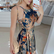 Sleeveless Tropical Print Spaghetti Strap Jumpsuit Women Spring Casual Elegant Fashion Womens Jumpsuits Rompers Ladies fashionable ethnic style print spaghetti strap jumpsuit for women