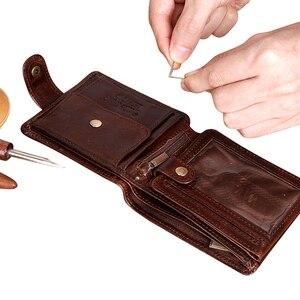Image 3 - Cobbler 전설 검은 암소 정품 가죽 남성 지갑 짧은 100% 최고 품질 패션 고품질 동전 지갑 2019 원래 브랜드