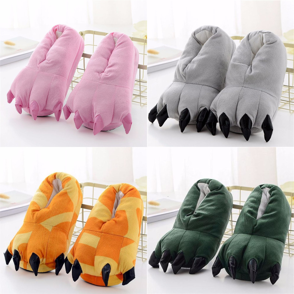 Kigurumi Slippers For Kids Adults Women Men Girl Boy Animal Paw Cartoon Unicorn Dinosaur Pikachu Winter Onesie Pajama Shoes
