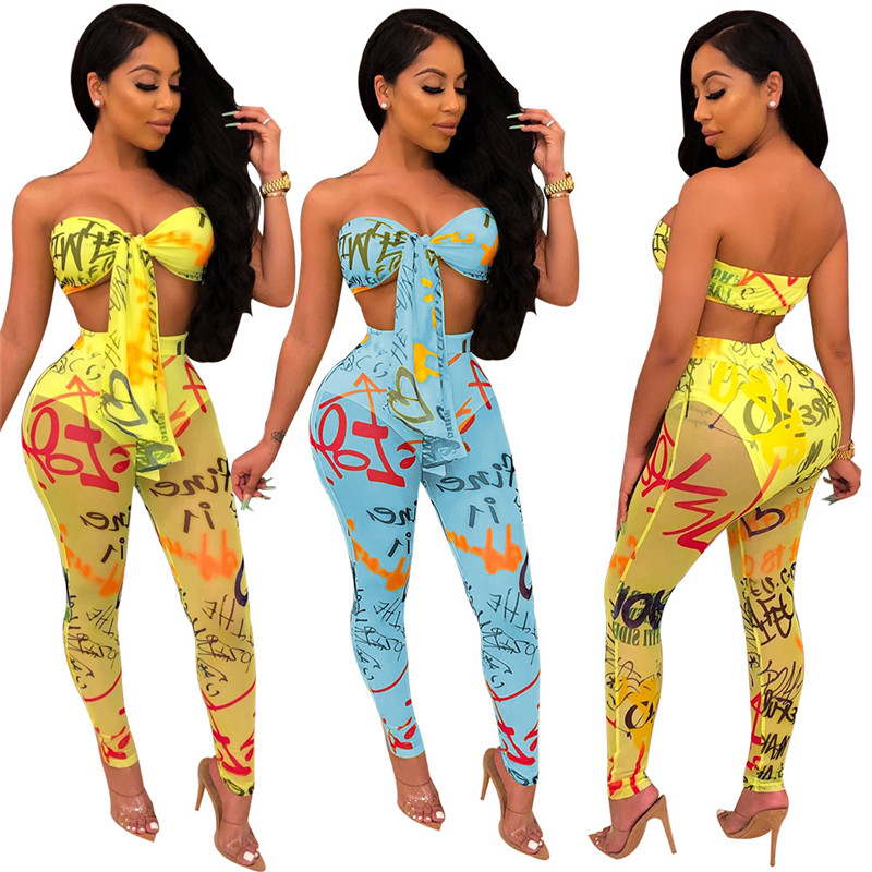 Sexy Women Clubwear Two Pieces Strapless Lace-up Bow Bra Bustiers Corsets Crop Tops Empire Mesh Letter See Through Pants Trouser