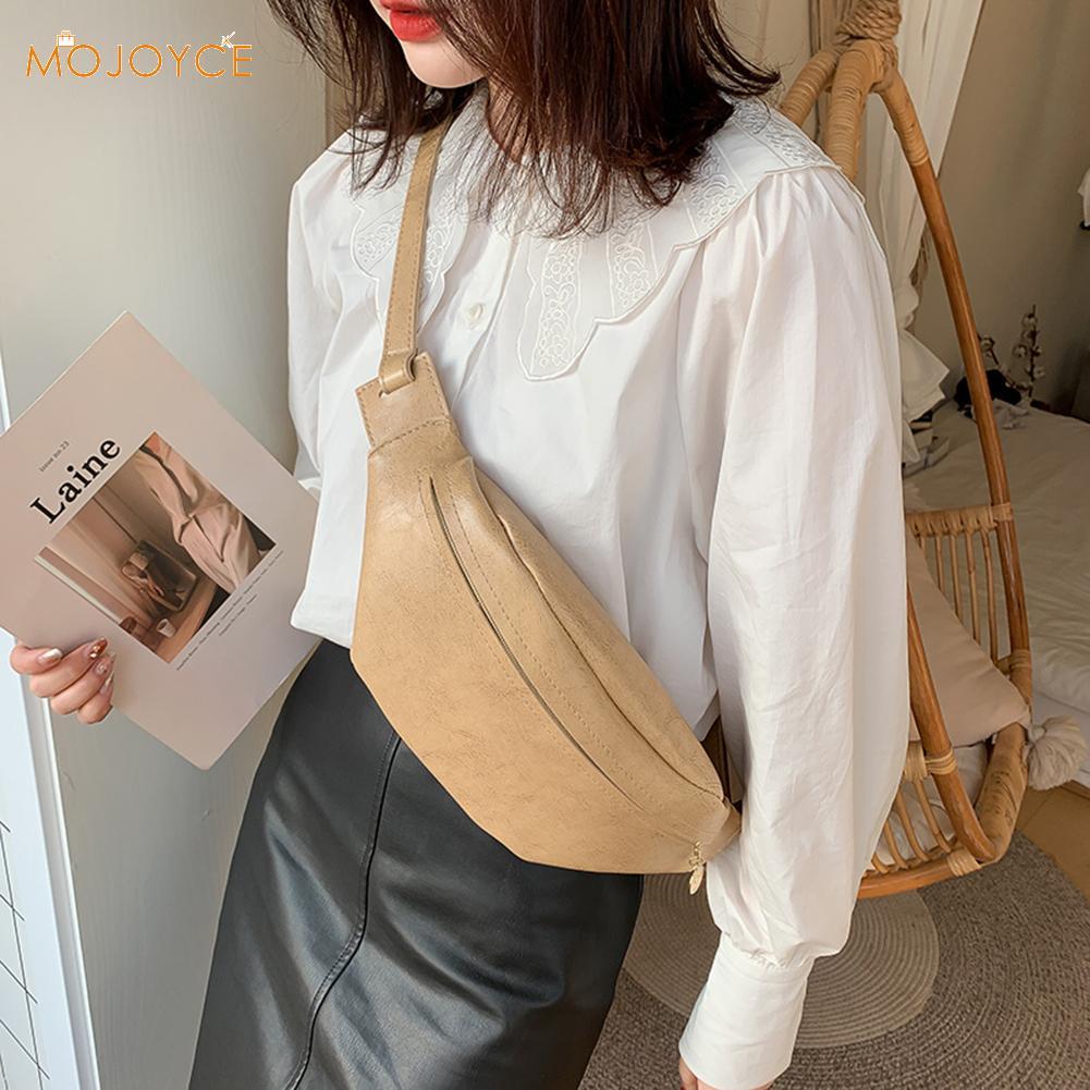 Retro Fashion Womens Waist Bag Fanny Pack PU Bag Belt Purse Small Purse Phone Key Pouch Solid Color Waist Packs Gift