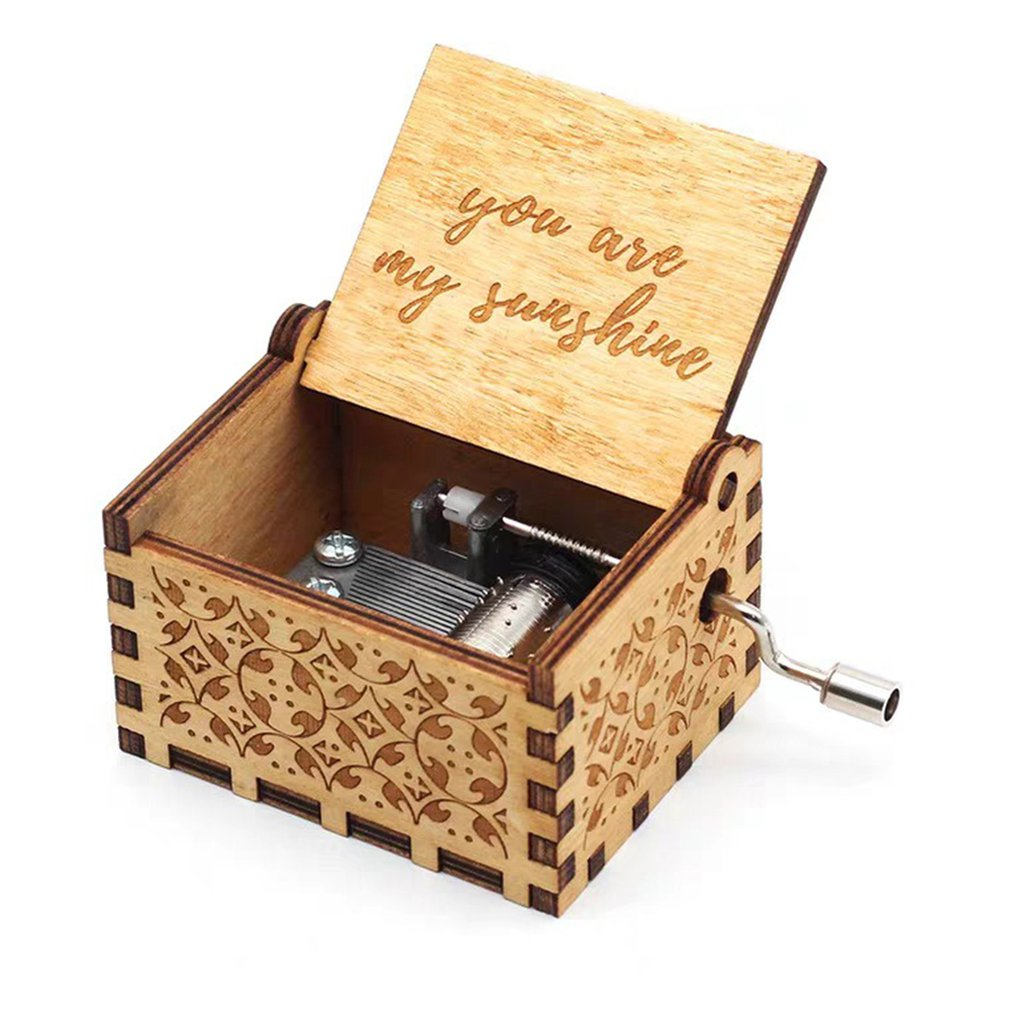 Wooden Music Box To Daughter To Wife You Are My Sunshine Engraved Toy Kid Retro Wooden Music Box Hand-cranked Music Box