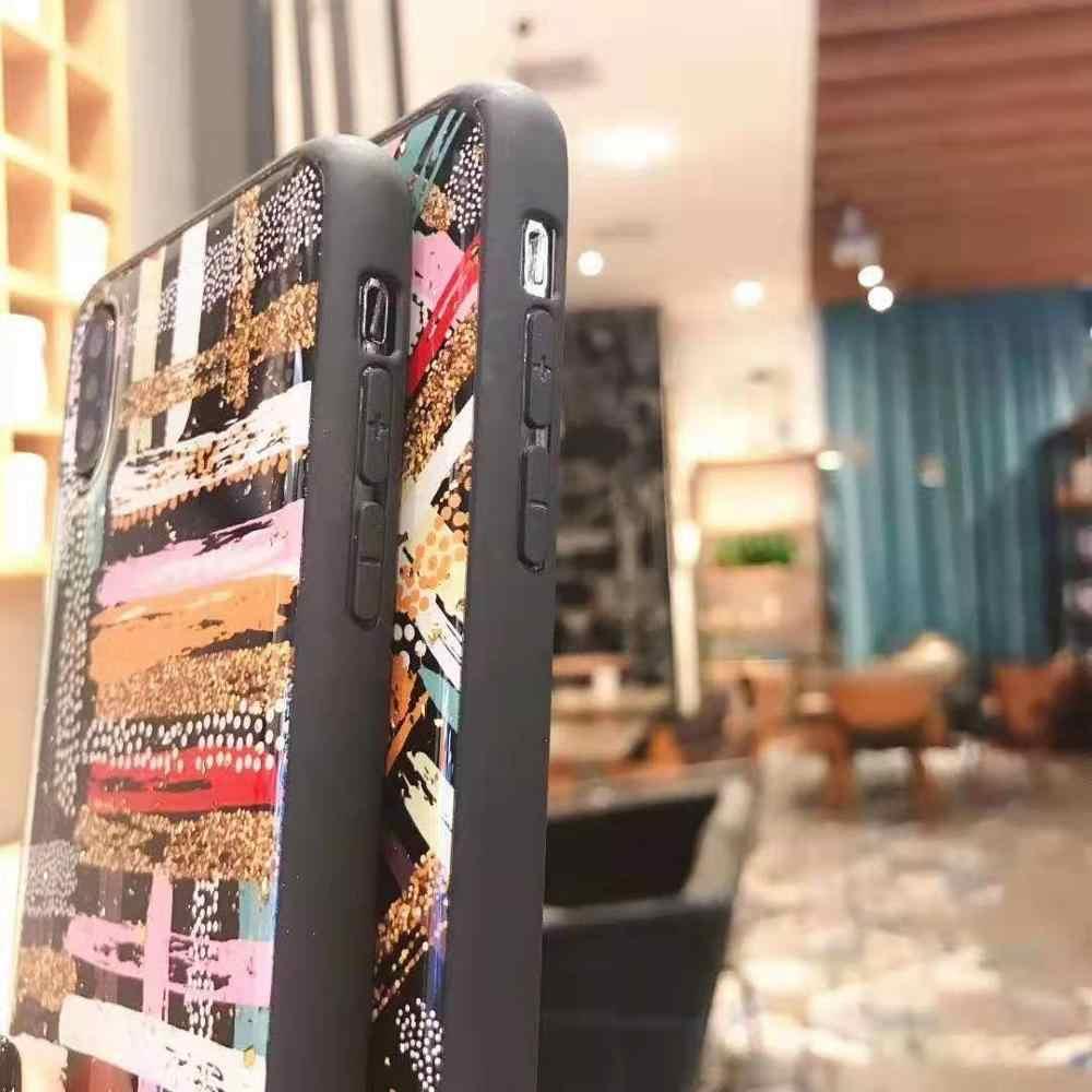 Для iPhone11 PRO max X XS Max XR чехол Роскошный художественный узор Золотая фольга мягкий ТПУ чехол для coque iPhone 7 8 6 6s Plus с ремешком