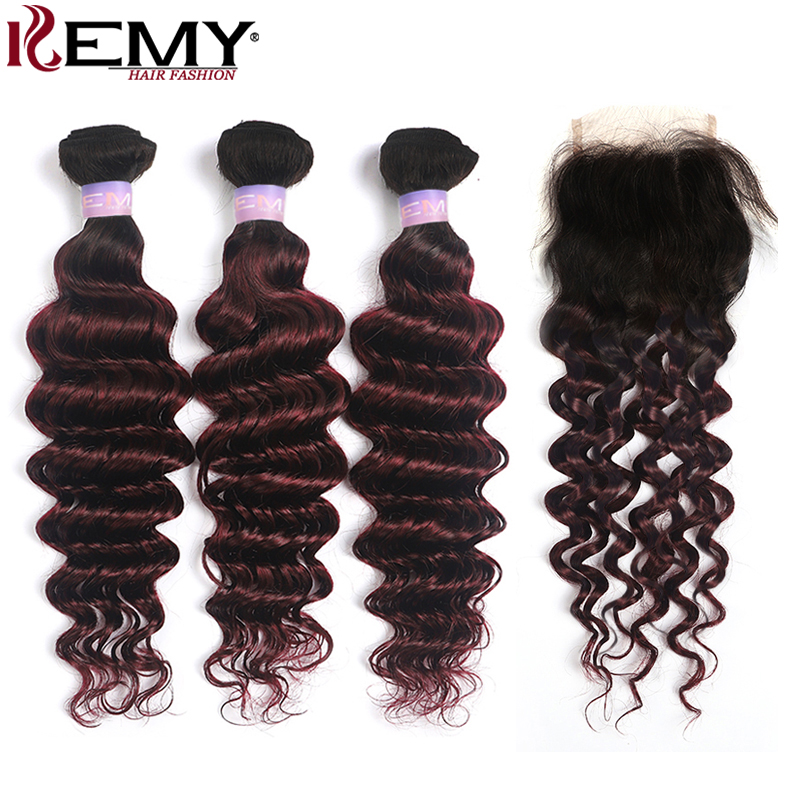 1B/99J Burgundy Deep Wave Human Hair Bundles With Closure 4x4 Brazilian Ombre 3 Bundles With Closure Non-Remy Hair Weave KEMY