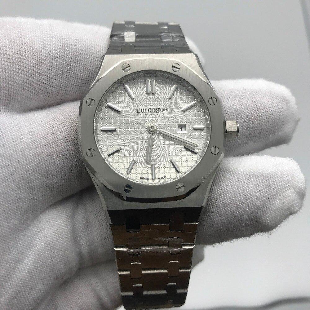 33 мм размер женские часы кварцевые с белым циферблатом Серебряный браслет из нержавеющей стали Королевский дуб женские часы Серебристые