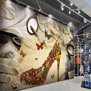 milofi custom large wallpaper mural retro nostalgic shoe store high heels tooling background wall decoration painting